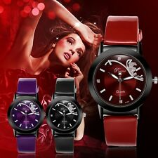 Classic Women Watch Fashion Round Dial Quartz Wristwatch Synthetic Leather Band
