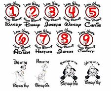 Dalmatians puppy Birthday numbers Iron on Transfer personalized age Dalmatian