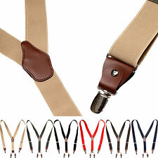 Mens Womens Clip-On Suspenders Leather Elastic Y-Shape Adjustable Braces Belts