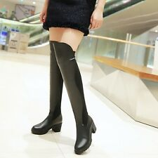 Women Kitten Heel Leather Over Knee High Thigh Boots Knight Size Silm Leg Shoes