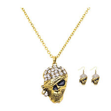 Beautiful Fashion Crystal Skull Earrings Necklace Women Gothic Jewelry Sets