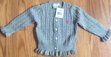 Ralph Lauren Polo Toddler Baby Girl Gray Cable Knit Cotton Cardigan Sweater NWT