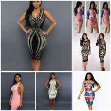 Sexy Women Sheath Dress Bandage Bodycon Club Cocktail Evening Party Dress Vogue