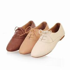 Womens Casual Shoes Oxfords Ballet Lace Up Flats Loafers Low Heels Fashion new