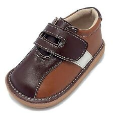 """SALE Toddler Leather Brown Tan """"Bowling"""" Squeaker Squeaky Shoes SEE SIZES NIB"""