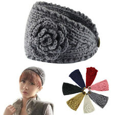 Knitted Headband Women Crochet Winter Flower Ear Warmer Hairband Headwrap