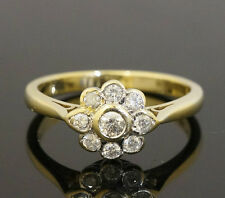 9ct Yellow Gold Rubover Set 0.25ct Diamond Daisy Cluster Ring(Size M) 8x9mm Head