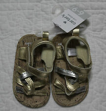 NEW CARTERS BABY GIRLS CRIB SHOES GOLD SILVER VELCRO SANDALS VARIOUS SIZES 2 3 4