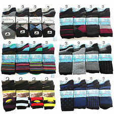 Mens 6 or 12 Pairs Striped,argyle Coloured Socks Cotton mix Suit Work Adults6-11