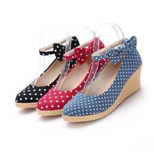 Fashion womens ladies dot wedge heels bowknot pumps dress shoes Mary Janes shoes