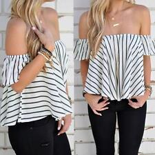 Fashion Women Lady Casual Off Shoulder T-Shirt Top Striped Blouse Beach V6I6