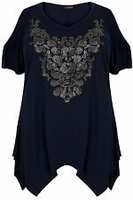 Plus Size Womens Cold Shoulder Top With Hanky Hem & Caviar Beading