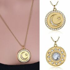 Charms Gold Coin Crystal Rhinestone Pendant Necklace Chain Jewelry Party Women