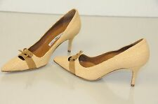 New Manolo Blahnik BB Mita beige Nude Lt brown suede Shoes Heels Pumps 37 6.5