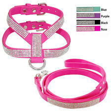 Bling Rhinestone Suede Puppy Cat Dog Pet Harness with Lead leash Traction rope