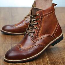 Mens casual dress wing tip leather high top chukka oxford Brogue ankle boots