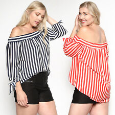TheMogan Women's Off The Shoulder 3/4 Sleeve Striped Top Spring Summer Blouse