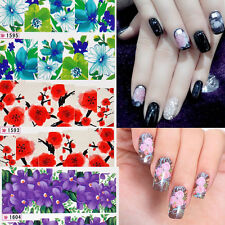 Flowers Foils Glitter Nail Art Stickers Wraps Water Transfer Decals Tips 1X NEW