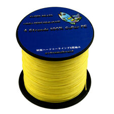 Pro 100% 4Plys Dyneema 6-100LB Super Strong Yellow Braid Fishing Line 100-1000M