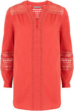 Ann Harvey Womens Red Lace Trim Blouse - Up To Size 28