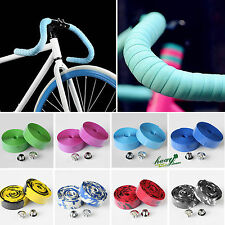 2 x Road Bike Bicycle Cycle Handle Handlebar Grip Bar Tape Wrap + 2 Bar Plugs