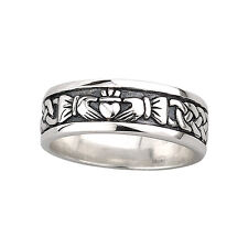 Claddagh Band Mens Oxidized Sterling Silver Made in Ireland