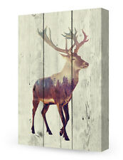 DecorArts-Canvas Prints Wall Art The deer on Vintage wooden background
