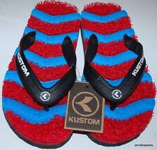 KUSTOM NEW Boys THONGS FLIP FLOPS KADILLAC TIDE Red Blue Noodle Panels NEW STYLE