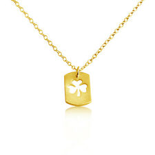 Gold Plated Silver Open 3 Leaf Clover Dog Tag Pendant Necklace #Azaggi N694G