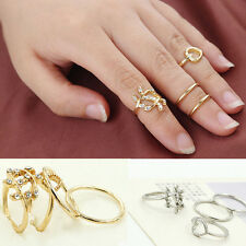 4PCS/Set Rings Urban Gold Plated Plain Above Knuckle Crystal Band Midi Ring