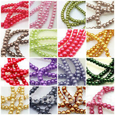 Glass Faux Pearl Beads - choice of 50+ colours, sizes 3mm 4mm 6mm 8mm 10mm 12mm
