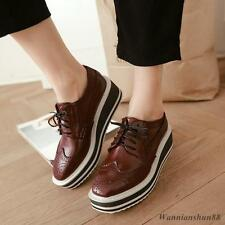 Vintage Preppy Womens Wingtip Oxford Platform Creeper Lace Up Goth Brogues Shoes