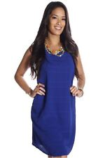 121AVENUE Adorable Embossed Loose Fit Dress S Small Women Blue Versatile