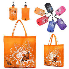 Butterfly Flowers Eco Friendly Reusable Folding Shopping Bag Tote In Pouch Clips