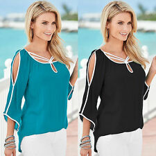 Sexy Womens Open Shoulder Blouse Beach 3/4 Sleeve Top T shirt Loose Tee Charming