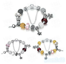 Womens Beautiful Bracelet 925Silver Chains Beads Charms Bangle Friendly Gift Box