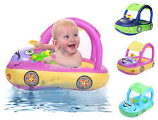 New Sunshade Baby Infant Float Seat Car Boat Inflatable Swim Ring Pool Water Fun