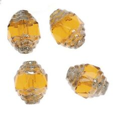 Czech Cathedral Art Deco Bead 10mm Topaz/Silver X10