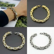 Hot Men's Cool Stainless Steel Silver Tone Byzantine Link Bracelet Chain Jewelry