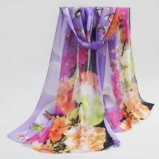 Summer Long Scarf Butterfly Print Chiffon Floral Sunscreen Shawl Wrap Bandana