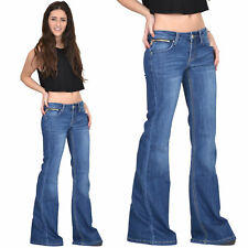 New Ladies Womens 60s 70s Flared Hipster Jeans Blue Faded Bellbottom Wide Flares