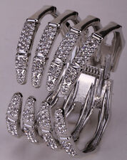 Skeleton hand bangle bracelet gold silver plated W crystal bling jewelry FT29