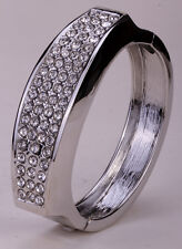 Bangle bracelet gold silver plated W crystal bling jewelry gifts FT35