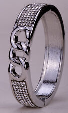 Bangle bracelet gold silver plated W crystal bling jewelry gifts FT36