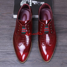 Mens Pointy Toe Brogue PU Leather Slip on Dress Formal Wedding Business Shoe New