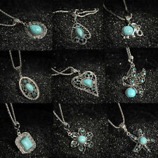 Fashion Vintage Tibetan Silver Turquoise Bib Crystal Pendant Women Long Necklace