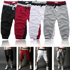 HOT Casual Mens 3/4 Knee Jogger Sport Shorts Baggy Gym Harem Pants Rope Trousers