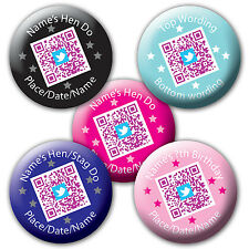 Personalised QR code Hen Stag Birthday Badge Mirror twitter facebook *5for4*
