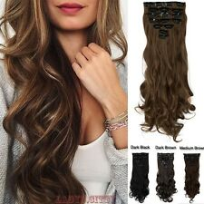 New colors 18clips full head clip in hair extensions brown blonde black gray F2f