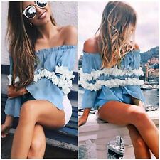 Fashion Women Flower Off Sholder Sexy Blouse Casual Summer Pleated Tops T-Shirt